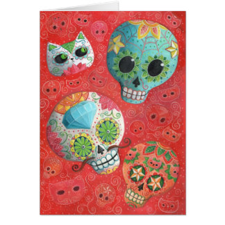 Three Day of The Dead Skulls Card