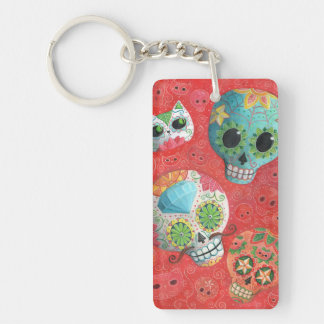 Three Day of The Dead Skulls Rectangle Acrylic Key Chains