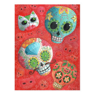 Three Day of The Dead Skulls Postcard