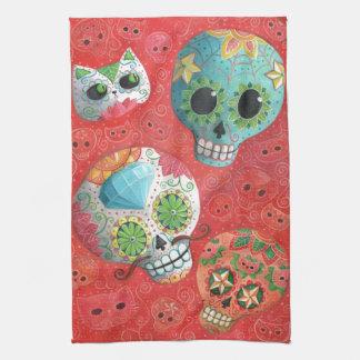 Three Day of The Dead Skulls Tea Towel