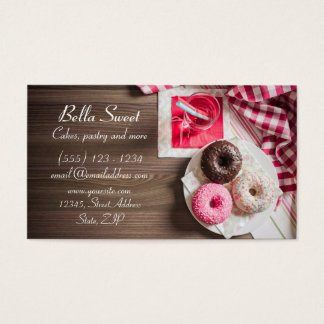 Three delicious doughnuts business card