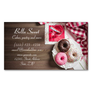 Three delicious doughnuts 	Magnetic business card