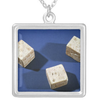 Three dice, from the acropolis at Osteria Silver Plated Necklace