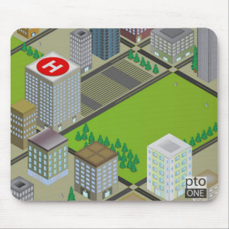 Three Dimensional City Scene Mouse Pad