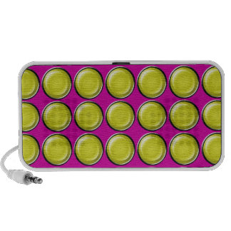 THREE DIMENSIONAL YELLOW POLKADOTS CIRCLES BUTTONS TRAVEL SPEAKERS