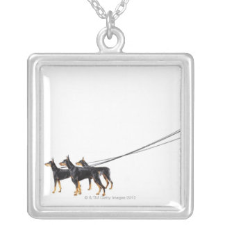 Three Dobermans on leash Silver Plated Necklace