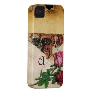 THREE DOGGIES WITH ROSES  MONOGRAM iPhone 4 Case-Mate CASE