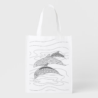 Three Dolphins Adult Coloring Bag