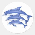 Three Dolphins Classic Round Sticker