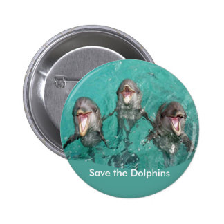 Three Dolphins in the ocean 6 Cm Round Badge