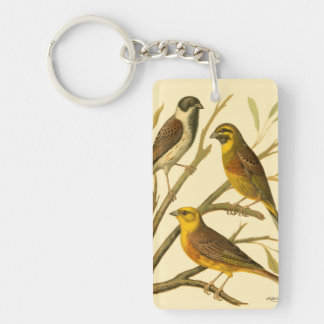 Three Domestic Birds Perched on a Branch Double-Sided Rectangular Acrylic Key Ring