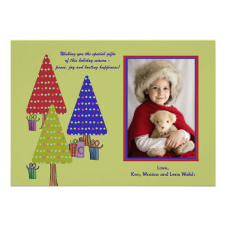 Three Dotted Christmas Trees Holiday Photo Card