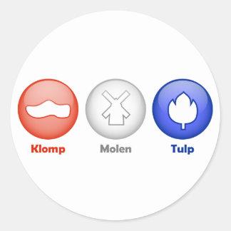 Three Dutch Icons Round Sticker