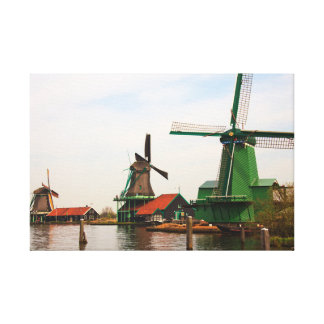 Three Dutch Windmills Reflected in Water on Canvas Stretched Canvas Prints