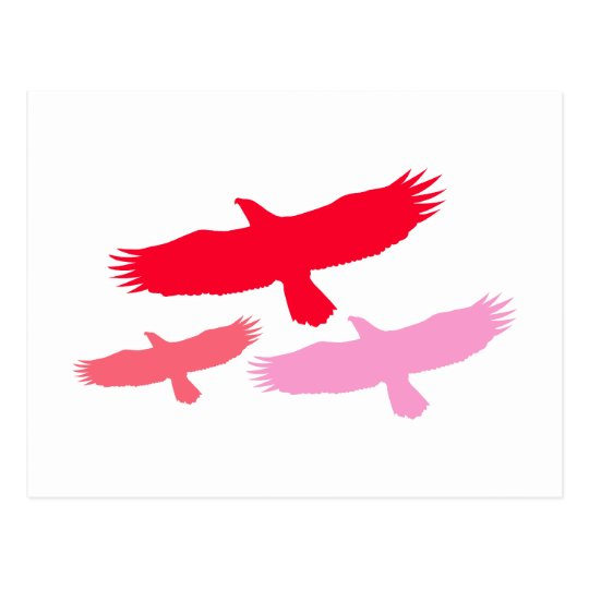 Three Eagles Flying (Red) Postcard