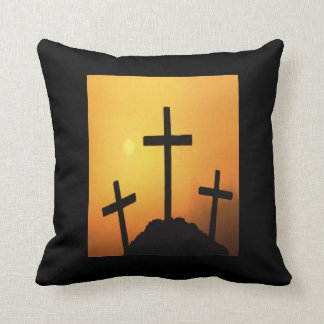 Three Easter Crosses At Sunset Cushion