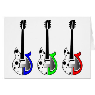 Three Electric Guitars - Neon Pop Art Card