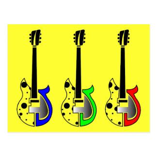 Three Electric Guitars - Neon Pop Art Post Cards