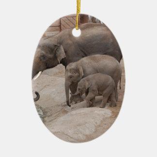 Three Elephants Ceramic Oval Decoration