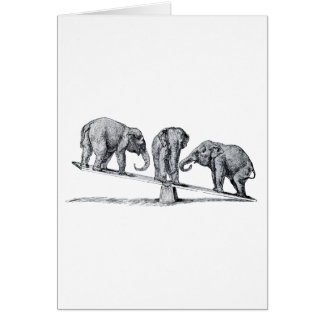 Three Elephants on a seesaw Vintage Animal Art Card