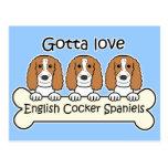 Three English Cocker Spaniels Postcards