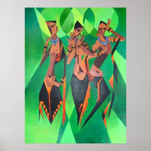 Three Ethnic Traditional Black Women Dancing Poster