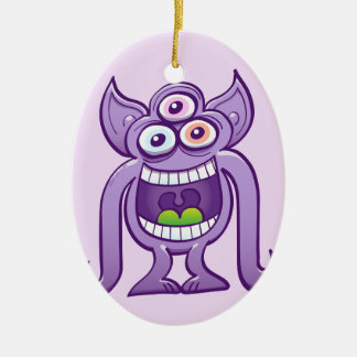 Three-eyed alien monster laughing mischievously christmas ornament