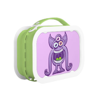Three-eyed alien monster laughing mischievously lunch box