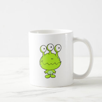 three eyed happy monster green basic white mug