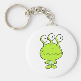 three eyed happy monster green basic round button key ring