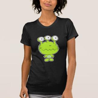 three eyed happy monster green T-Shirt