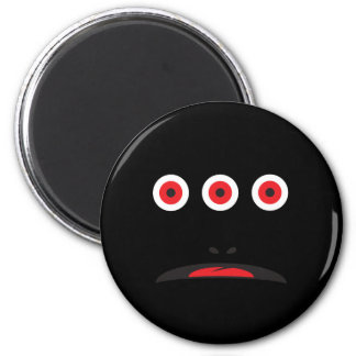 THREE-EYED MONSTER FACE COSTUME 6 CM ROUND MAGNET