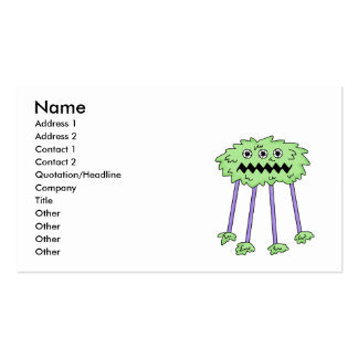 three eyed silly green furry monster business card templates