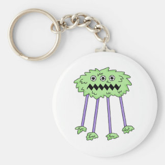 three eyed silly green furry monster key chains
