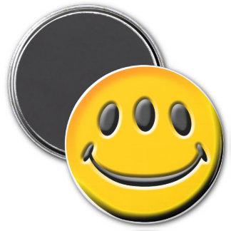 Three-Eyed Smiley 7.5 Cm Round Magnet