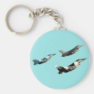 Three F16s Basic Round Button Key Ring