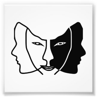 three faces black white gemini photo print