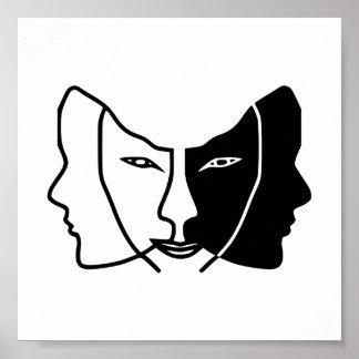 three faces black white gemini poster
