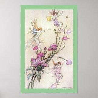 Three Fairies Mad with Joy Poster
