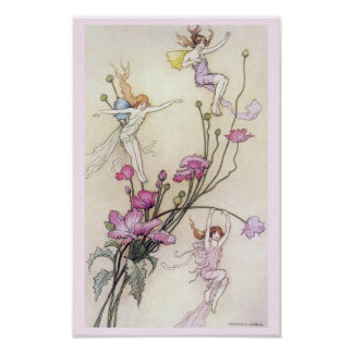 Three Fairies Mad with Joy Poster