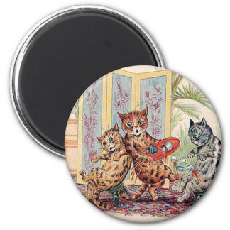 Three Falling Cats by Louis Wain 6 Cm Round Magnet