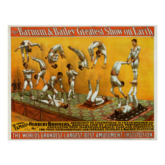 Three Famous Herbert Brothers Circus Poster