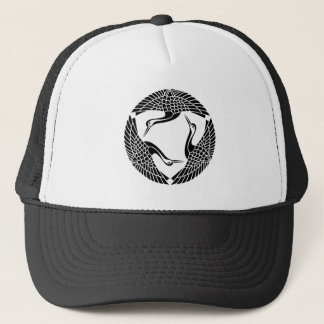 Three feather crane trucker hat