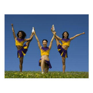 Three female cheerleaders doing formation postcard