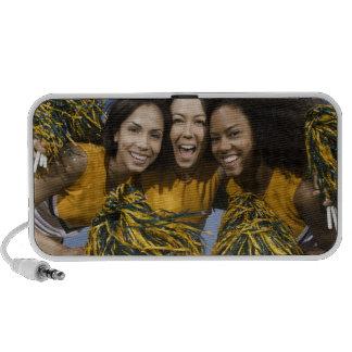 Three female cheerleaders holding pompoms travel speaker