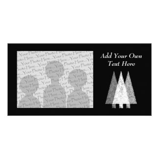 Three Festive Trees. White on Black. Card