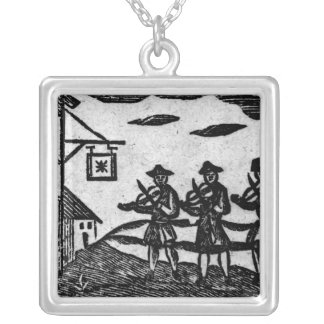 Three Fiddlers, from 'A Book Roxburghe Ballads' Silver Plated Necklace