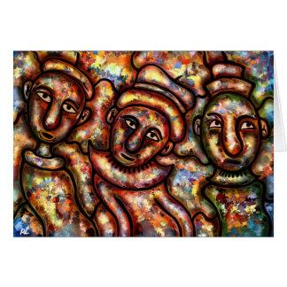 Three figures greeting card