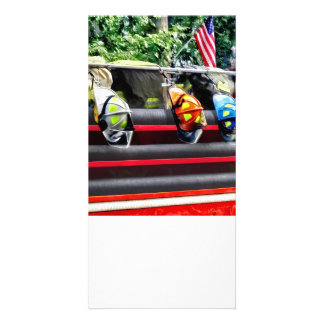 Three Fire Helmets On Fire Truck Photo Card Template