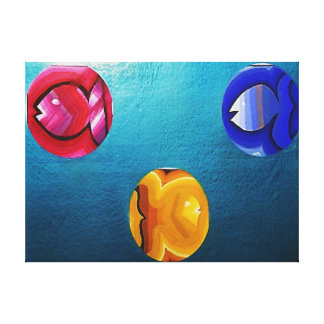THREE FISH IN THE MIDDLE CANVAS PRINT